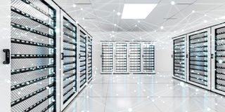 Abstract network on server room data center 3D rendering. White and blue abstract network on server room data center 3D rendering Royalty Free Stock Image