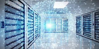 Abstract network on server room data center 3D rendering. White and blue abstract network on server room data center 3D rendering Stock Images