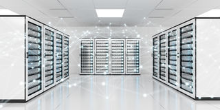 Abstract network on server room data center 3D rendering Royalty Free Stock Images