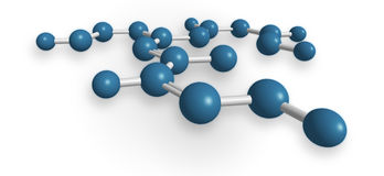 Abstract network structure. 3D computer rendering of a network structure resembling a molecule with blue atoms, isolated on white Stock Image