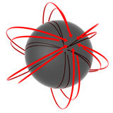 Abstract Neutron. Abstract conceptual composition of a 3D sphere of a reflective surface surrounded by red arrows pointing at its center. Clipping path included Stock Images