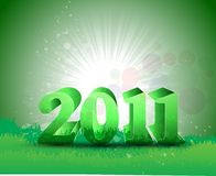 Abstract new year 2011. In green colorful background Vector royalty free illustration