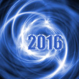 Abstract New Year 2016 blue background. Abstract New Year 2016 blue background with glowing spiral lines. Creative volumetric design, concept for greeting card royalty free illustration