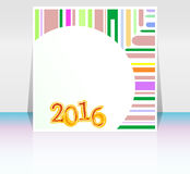 Abstract New Year 2016 card. Multicolor holiday greeting card. Creative flat design, concept for banner, poster, flyer design, night party Stock Photos