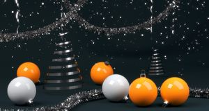 Abstract new year composition with balls and serpentine Stock Image