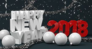 Abstract new year composition with white balls Royalty Free Stock Photo
