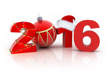 Abstract 2016. Abstract new year 2016 (done in 3d, white background Stock Images