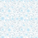 Abstract New Year pattern with blue snowflakes and swirls on white Royalty Free Stock Photography