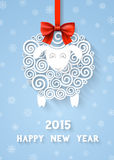 Abstract 2015 New Year's symbol. Abstract paper sheep, 2015 new year symbol on red ribbon with bow, with extensional shadows and 3d effects, EPS 10 contains Stock Illustration