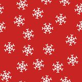 Abstract New Year seamless pattern with snowflakes on red background. Snowflake seamless pattern background. red and white. vector illustration royalty free illustration