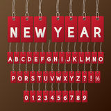 Abstract New Year Tag Font and Numbers Stock Photo