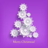 Abstract New Year Tree From Snowflakes Isolated. Stock Images