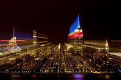 Abstract of New York City skyline. With in camera zoom effect. Picture taken during 9-11 memorial tribute Stock Image