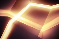 Abstract niches with bright inner illumination. Abstract contemporary architecture background, niches with bright inner illumination, multi exposure photo effect Stock Photo