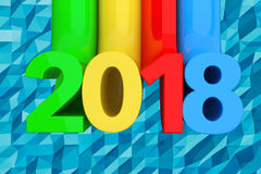 Abstract Nieuw het Jaarteken van 2018 het 3d teruggeven Royalty-vrije Stock Afbeeldingen