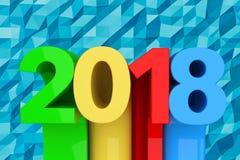 Abstract Nieuw het Jaarteken van 2018 het 3d teruggeven Stock Fotografie