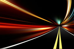 Abstract night acceleration speed motion. On road stock photo