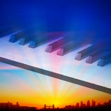 Abstract night background with city and piano keys Royalty Free Stock Photography