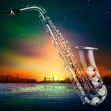 Abstract night background with city and saxophone Stock Image
