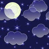 Abstract night background with clouds and stars Royalty Free Stock Images