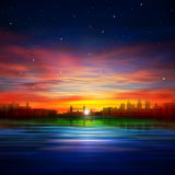 Abstract night background with silhouette of city Royalty Free Stock Image