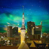 Abstract night background with Tallinn and sunset Stock Photography