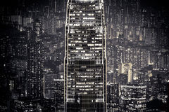 Abstract night cityscape. Hong Kong Royalty Free Stock Images