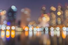 Abstract, night cityscape light blur bokeh, defocused background. Royalty Free Stock Images