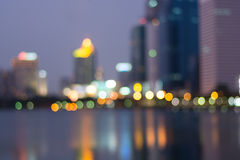 Abstract, night cityscape light blur bokeh, defocused background Royalty Free Stock Photos