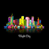Abstract night cityscape, sketch for your design Royalty Free Stock Images
