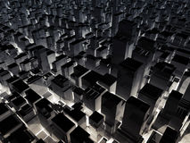 Abstract night cityscape with tall office buildings. 3d illustration Stock Photos