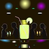 Abstract night club scene with glass of alcohol and couples of people. royalty free illustration
