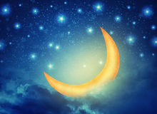 Abstract night fairy background with stars, moon and clouds Royalty Free Stock Images