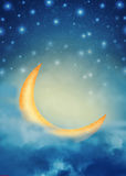 Abstract night fairy background with stars, moon and clouds Stock Images