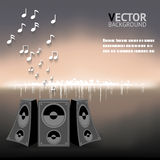 Abstract Night Music Notes Speaker Background Vector Illustration Royalty Free Stock Images