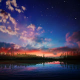 Abstract night nature background with forest lake Stock Photography