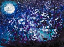 Abstract night oil painting, a black wolf howling at moon, a large glowing moon, a starry blue sky, an animal in large bushes. Abstract night forest black wolf Royalty Free Stock Photos