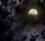 Abstract night sky with full moon for halloween background. Royalty Free Stock Photo