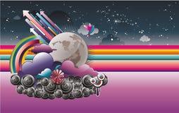 Abstract night sky illustration vector Royalty Free Stock Photo