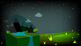 Abstract night time landscape. Nature postcard, vector abstract night time landscape, countryside. Stars on sky, meadow Royalty Free Stock Image