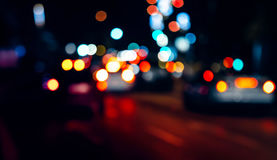 Abstract Night traffic lights. Defocused night lights Royalty Free Stock Images