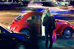 Abstract night traffic -night of the girlfriend. The brisk night movement at centre of the big city Royalty Free Stock Photography