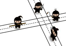 Abstract ninjas fighting Stock Photo