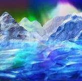 Abstract noordpoollandschap met bergen, overzees en dageraad royalty-vrije illustratie