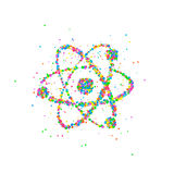Abstract nucleus of an atom. Splash multicolored circles. Vector illustration Stock Photo