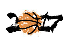Abstract number 2017 and basketball Stock Image