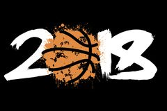 Abstract number 2018 and basketball. Blot. Vector illustration Stock Photos