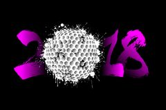 Abstract number 2018 and golf ball. Blot. Vector illustration Royalty Free Stock Images