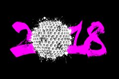 Abstract number 2018 and golf ball. Blot. Vector illustration Stock Photos