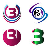 Abstract Number 3 logo Symbol icon set Royalty Free Stock Images